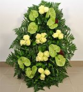 Funeral anthurium and roses